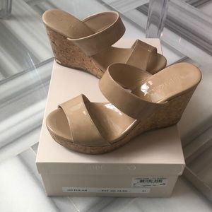 Jimmy Choo Nude Patent Cork Wedges Parker 100